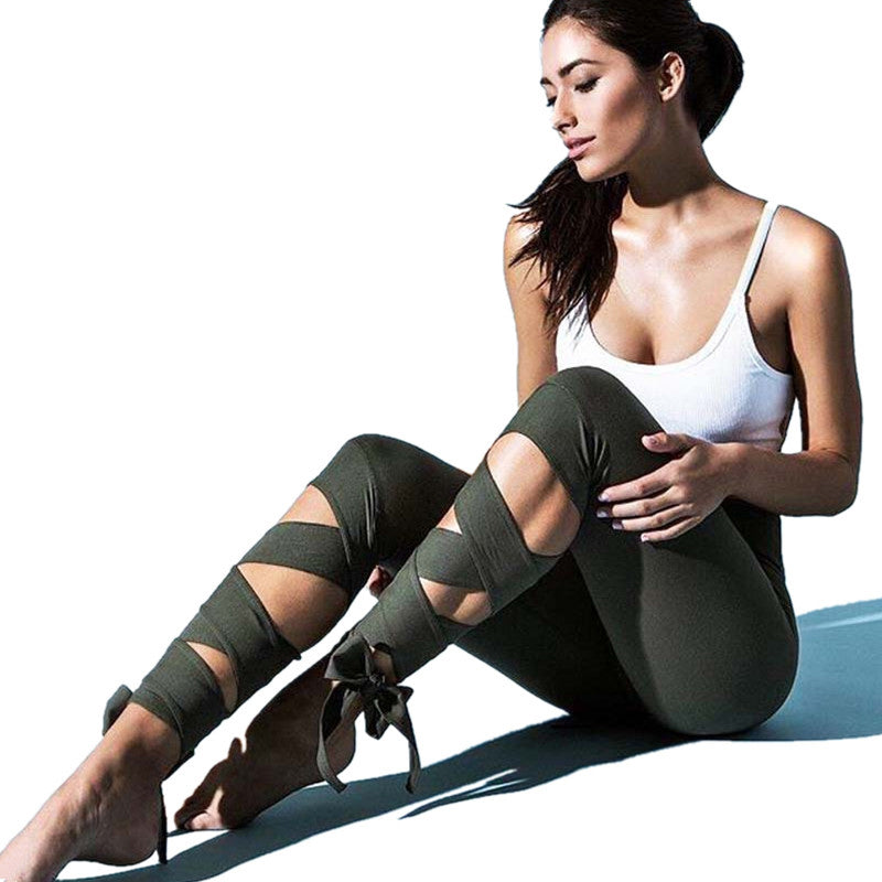 Top Quality Sexy Yoga Pants Ballet Spirit Bandage Infinity Turnout Leggings For Women Sport Black Leggings