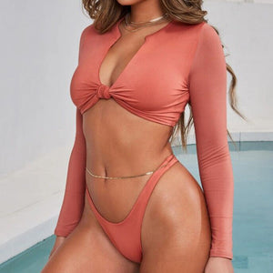V Bottom Mesh Bathing Suit Women Bathers Long Sleeve Sports Swimwear Push Up Sexy Female Swimsuit Separate Crop Top Thong Bikini