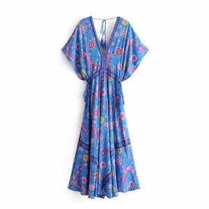 Vintage Chic Women Peacock Floral Print Bat Sleeve Beach Bohemian Maxi Dress Ladies V-neck Tassel Summer Boho Dress Vestidos