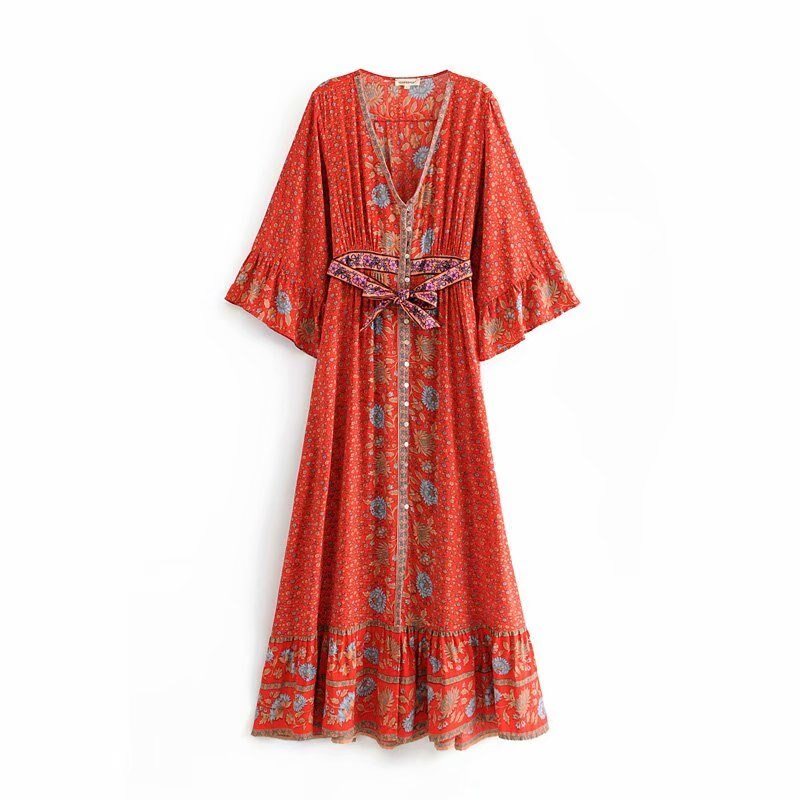 Vintage Chic Women  Floral Print  Single Breasted Beach Bohemian Maxi Dress Ladies V Neck Sashes Summer Boho Dress Vestidos
