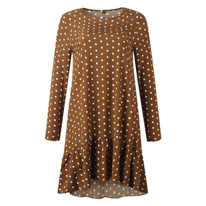 Women Autumn Dress Fashion Polka Dot Chiffon Dress Long Sleeve O Neck Ruffle Female Casual Yellow Dress Retro Vestido Mujer