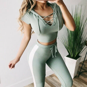 Women Ladies Fancy Summer Suit Bandage Party Cub Clothes Set Crop Pants Leggings Casual Fitness Workout Outfits Tracksuits