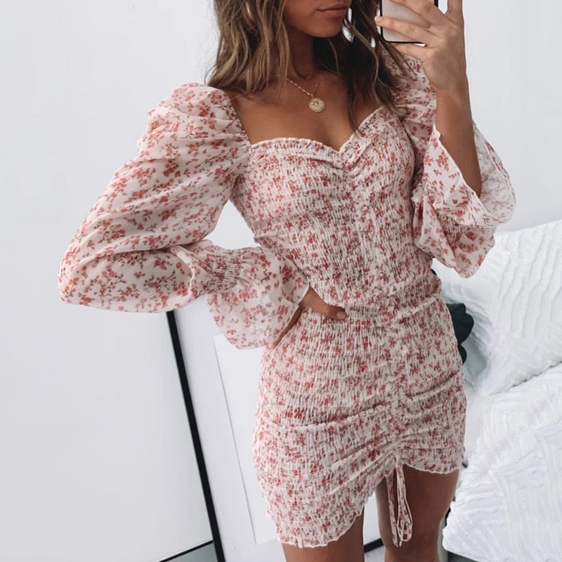 Sexy Floral Print Shirred Dress Women Square Neck Long Sleeve Slim Mini Dress Chiffon Dress
