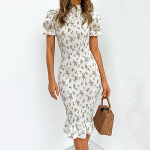 Women Floral Print Dress New Spring Summer Short Sleeve Slim Knee Length Dress Sexy Shirred Dress Boho Beach Dress