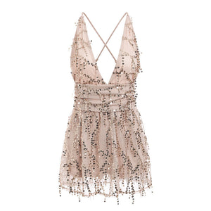 Sexy Deep V-neck Sequined Mesh Women Playsuit Elegant Backless Lining Ladies Short Jumpsuit High Wasit Tassel Overalls