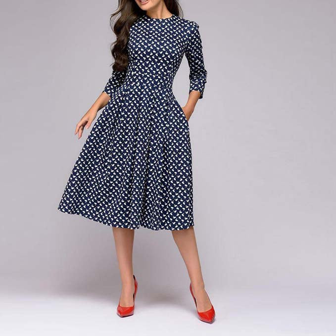 Women Elegant A-line Dress Vintage Printing Slim Party Dress Three Quarter Sleeve Women Autumn Casual Vestidos Midi Dress