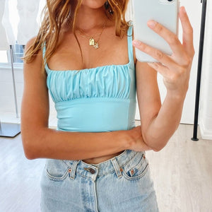 Candy Color Camis Streetwear Tube Women Summer Ruched Pleated Short Tank Tops Cool Girls Sexy Slim Crop Top Tees