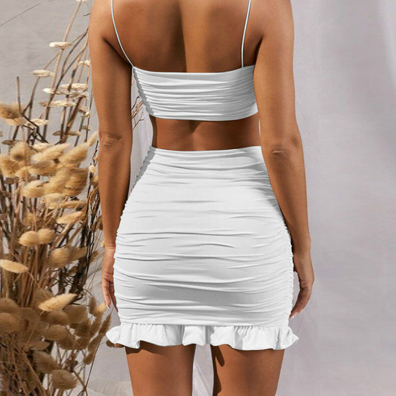 Women Set Spaghetti Strap Crop Top White Sexy and Mini Bodycon Skirt Ruffles Party Outfit Club Two Piece Sets