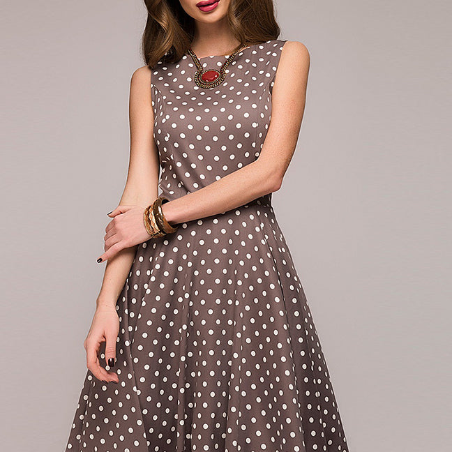 Women Vintage Dress Sleeveless O-neck Summer Vestidos Women Elegant Dot Printing Mid-Calf Casual Dress Female