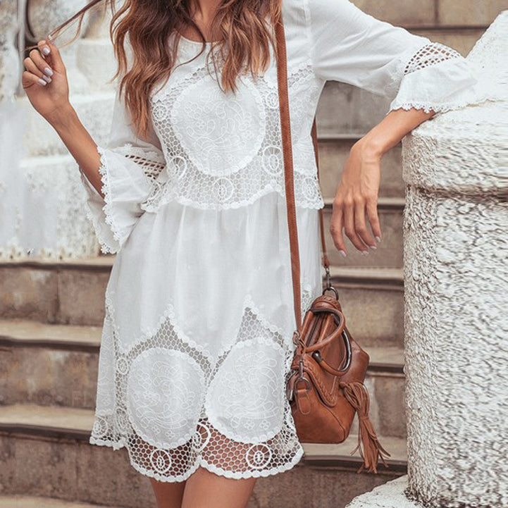 Women Cotton Dress Hot Sale O-neck Half Sleeve Lace Patchwork Mini Dress Summer Beach Vestidos