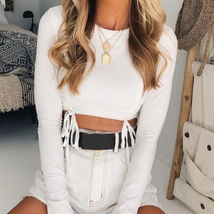 Sexy White Long Sleeve Crop Top Autumn Casual Drawstring Ruched T-shirt Female Cropped Tshirt Top for Women Clothing