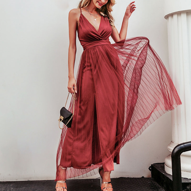 Sexy Deep V Neck Long Party Dress Women Pleated Strap Backless Summer Dresses Mesh Night Club Ladies Vestidos Robe Femme