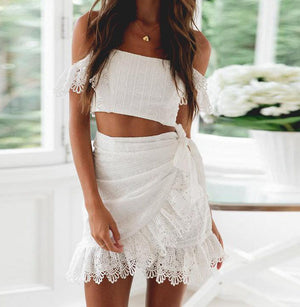 Women Summer White Embroidery Skirt Set Fashion Sexy Off Shoulder Lace Crop Tops Mini Skirt Suit  Female Holiday Sets