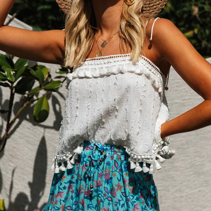 Boho Vintage Tassel Straps Tie Up Basic Camis Women Summer White Square Neck Tank Tops Cool Girls Festival Crop Top