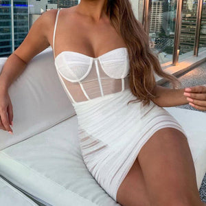 Women See Through Mesh Sexy Dresses Sleeveless Strapless Bodycon Dress Fashion Elegant Sheath Club Party New Autumn