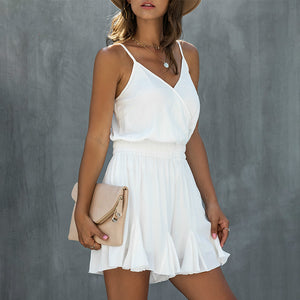 Beach Casual Summer Solid Playsuits Women Spaghetti Strap Short Jumpsuits Romper Ruffles Plus Size Backless Playsuits