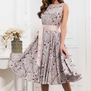 Casual Women Sleeveless Dress Summer Retro Floral Print Pleated Sexy Dress O Neck A Line Vintage Party Vestidos