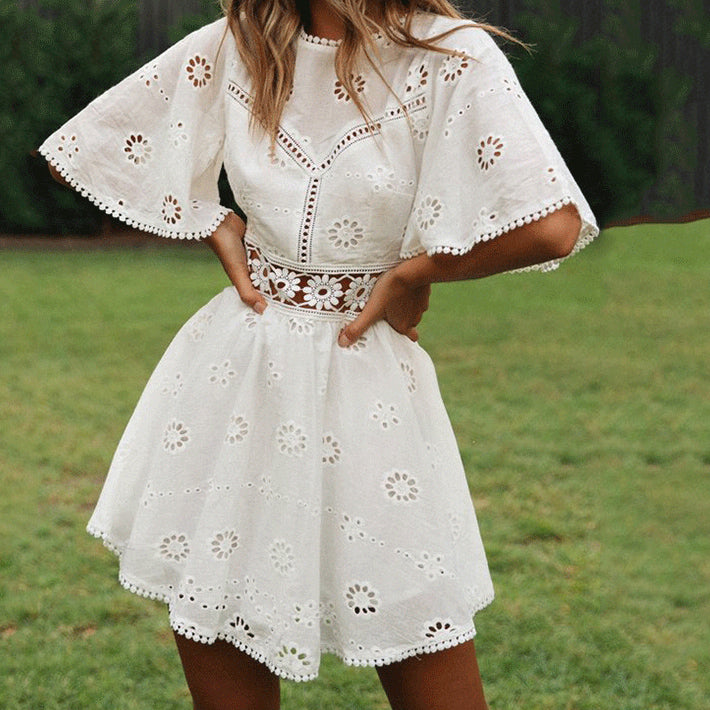 Sexy White Cotton Crochet Hollow Out Dress Women Flare Sleeve Cotton Embroidery Mini Dress Summer Day Dress