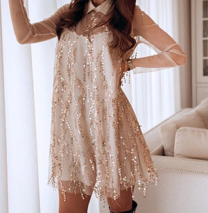 Sexy Sequin Tassel Women Party Dress Mesh Long Sleeve Female Short Dress Vestidos Casual A-line  Ladies Spring Dress
