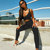 Women Fitness Tracksuit 2 Pieces Set Slim Crop Top + Padded Sporting Leggings Active Wear Outfits Skinny Stretch Outwear