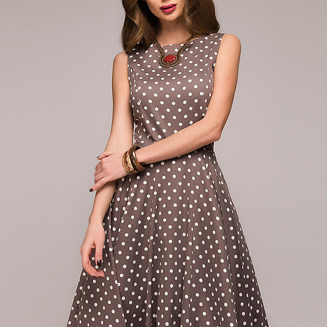 Women Vintage Dress Sleeveless O-neck Vestidos Women Elegant Dot Printing Mid-Calf Casual Dress Female