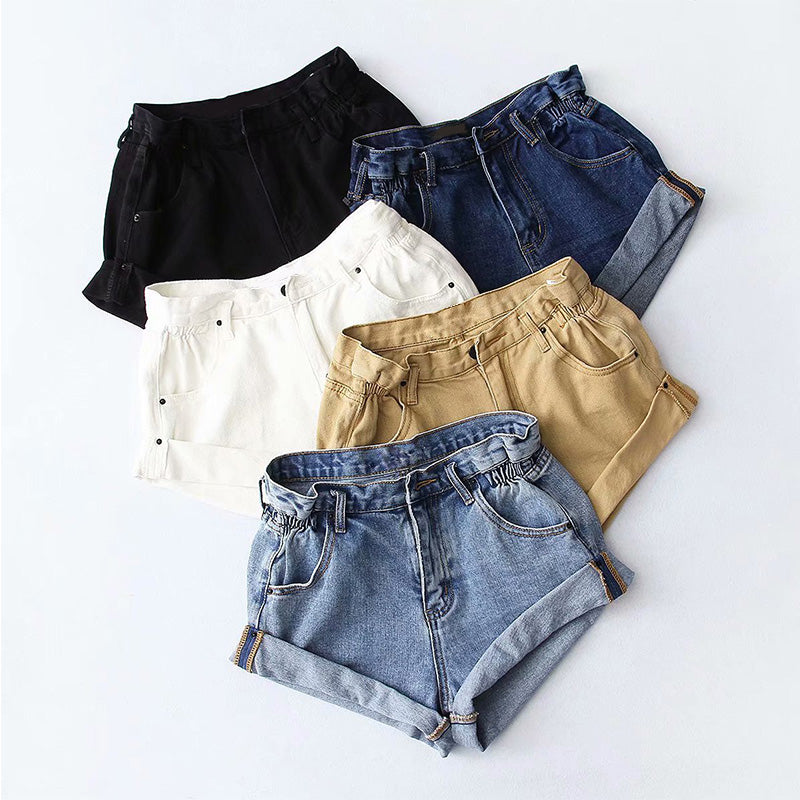Casual Blue Denim Shorts Women Sexy High Waist Buttons Pockets Slim Fit Shorts Summer Beach Streetwear Jeans Shorts