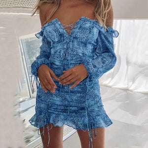 Off Shoulder Bandage Ruffle Dress Women Long Sleeve Bow Mini Dress Bodycon Party Club Dress Female Vestidos