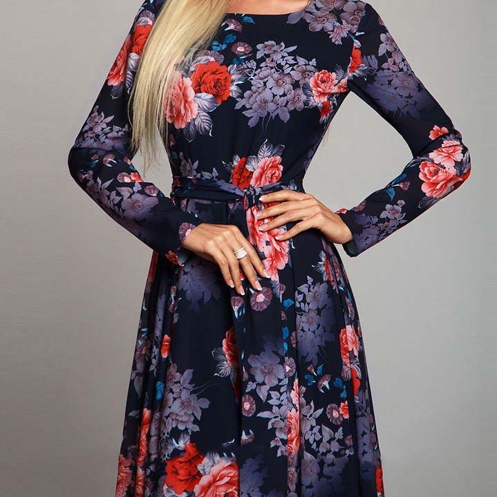 Women Robe Long Sleeve Printing Dress Autumn Fashion Sexy Boho Dress Slim Long Party Dress Women Vestidos
