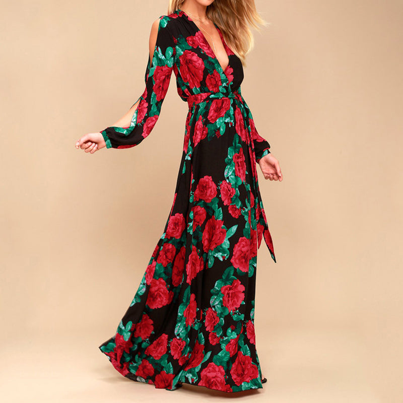 Women Bohemian Long Dress Hot Sale Rose Printing V-neck Sexy Vestidos De Festa Summer Autumn Fashion Long Sleeve Dress