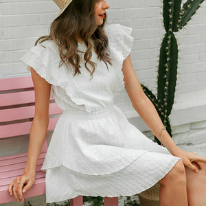 Women High Waist Sleeveless Sexy Lace Dress Female  Casual White  Ladies Mini Dress