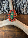 Green Royston Turquoise and Coral Cluster Ring