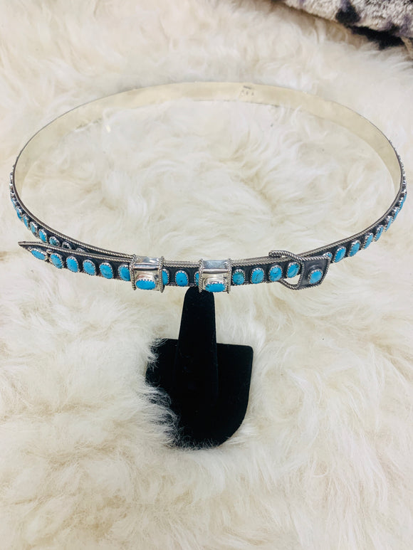Turquoise and Sterling Silver Hatband