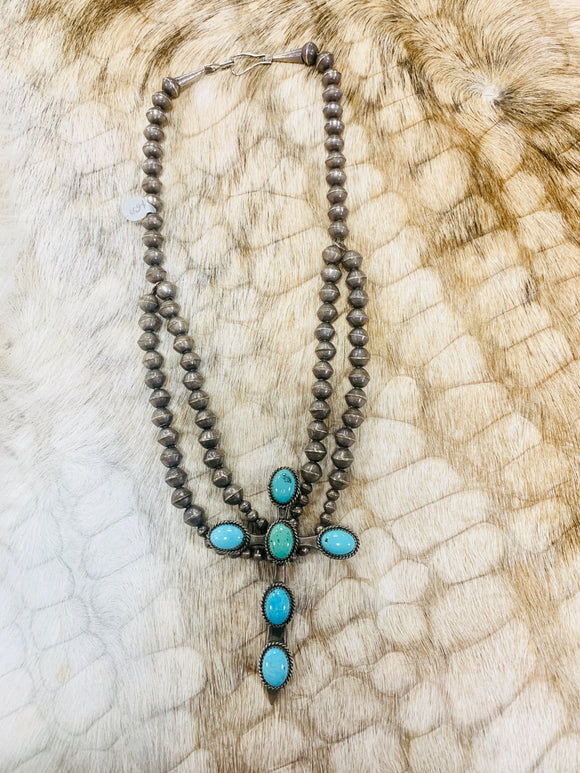 Turquoise Cross Necklace Vintage