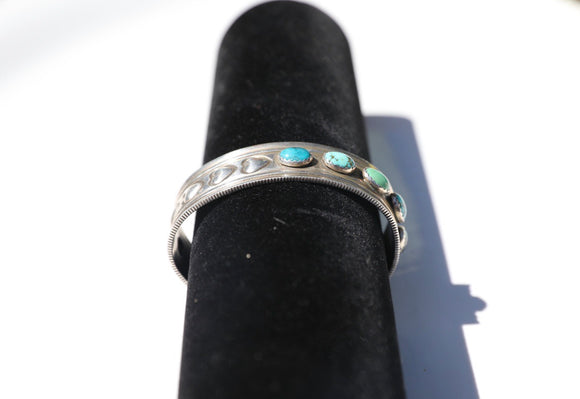 Unique Turquoise and Heart Tooled Cuff
