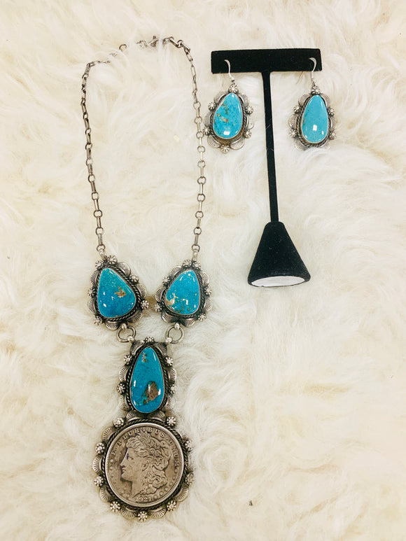 Beautiful Turquoise and Coin Necklace and Earring Set