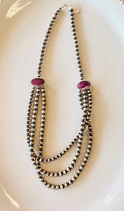 Purple Spiny Oyster 3 Strand Navajo Pearl Necklace