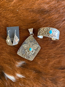 Butterfly Pendant, Cuff & Earrings