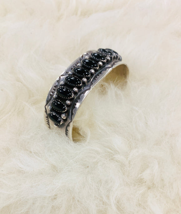 Black Onyx Tooled Cuff