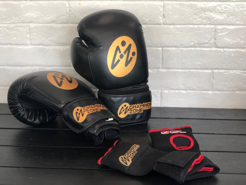 Champion Zone Fitness Boxing Gloves and Wraps