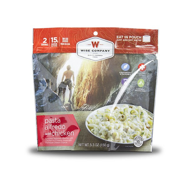 6ct Pack - Outdoor Pasta Alfredo with Chicken (2 Serving Pouch) | Wise Company