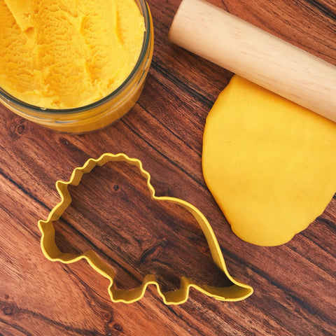 Yellow Baby Triceratops Dinosaur play dough or cookie cutter in New Zealand