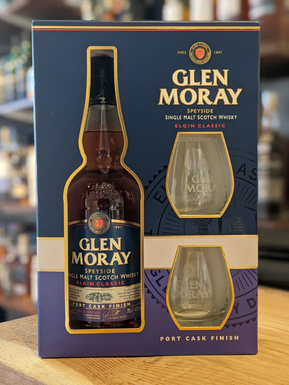 Glen Moray Port Cask Gift Pack with 2x Glasses