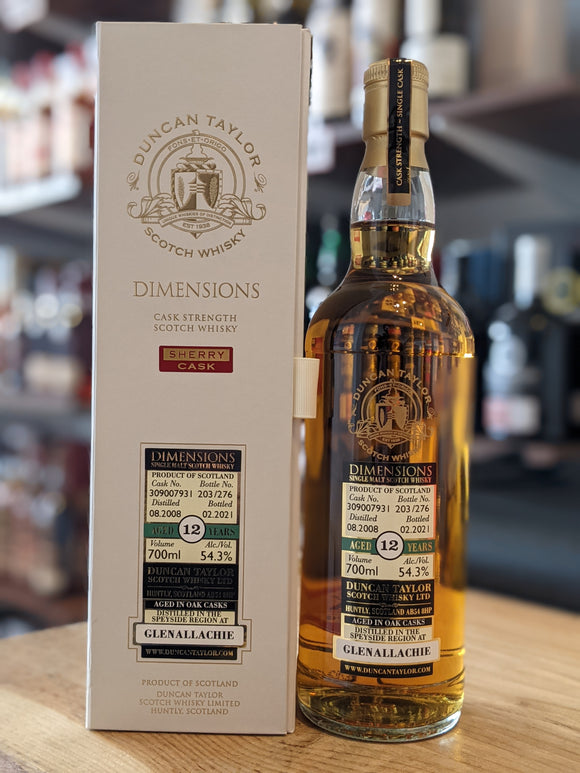GlenAllachie 12 Year Old 2008 - Dimensions By Duncan Taylor