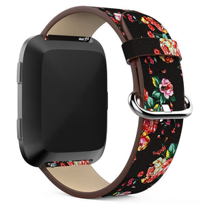 Fitbit Versa Lite | Peony Flower Leather Strap - GoStraps.com