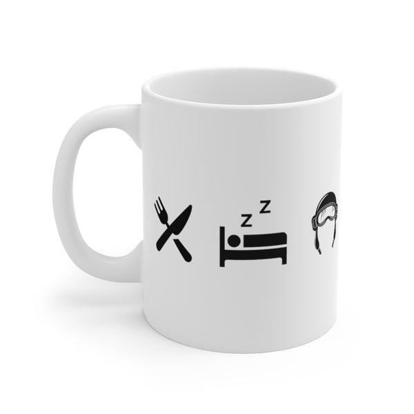 Eat Sleep Pilot White Ceramic Mug