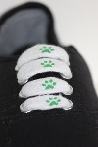 Green Pawprint Shoelaces