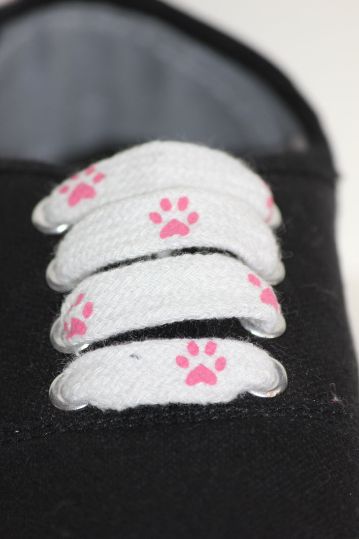 Pink Pawprint Shoelaces
