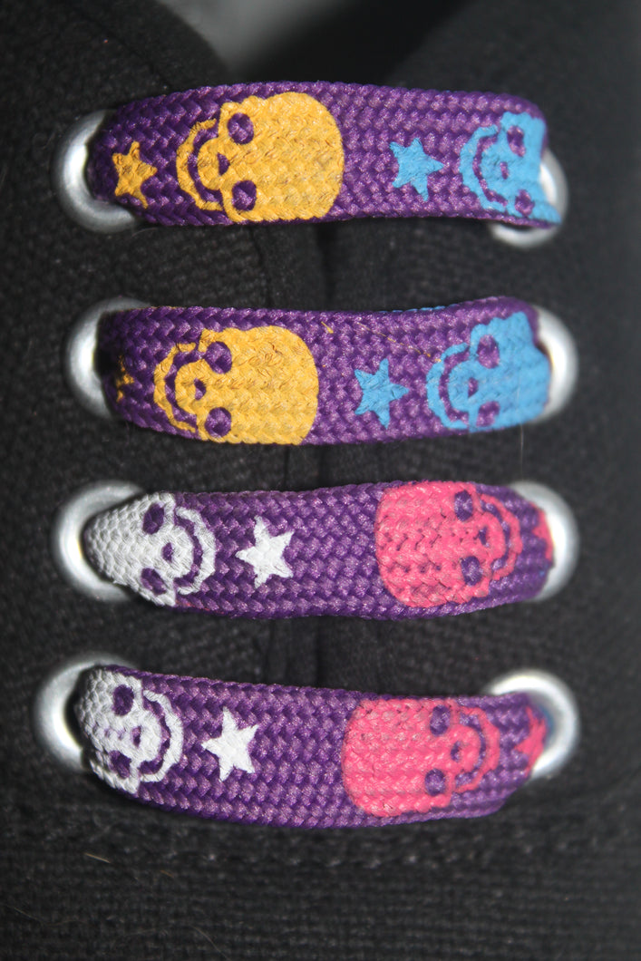Dark Purple Skull Shoelaces