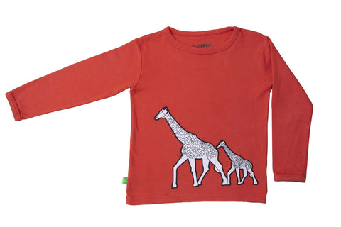 Giraffe print long sleeve T-shirt