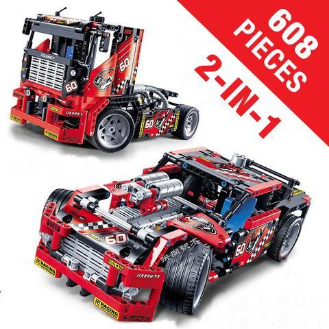 608 PCS Race Truck & Car 2-In-1 Transformable Model